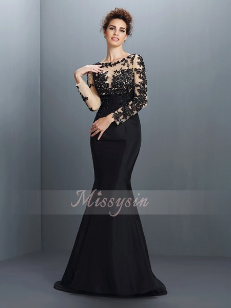 Long Sleeves Bateau Taffeta Sweep/Brush Train Black Dresses