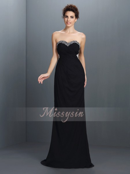 Sleeveless Sweetheart Chiffon Sweep/Brush Train Black Dresses