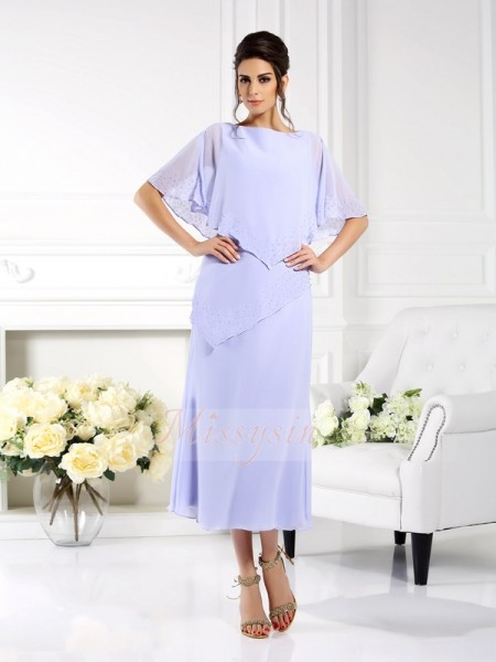 1/2 Sleeves Bateau Chiffon Ankle-Length Lavender Mother of the Bride Dresses