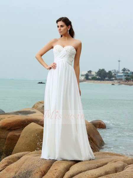 Sleeveless Sweetheart Chiffon Sweep/Brush Train Ivory Wedding Dresses