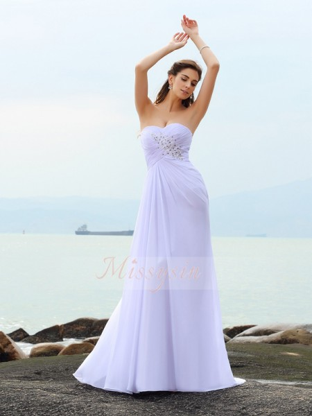 Sleeveless Sweetheart Chiffon Chapel Train White Wedding Dresses