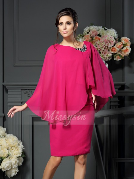 Sleeveless Scoop Chiffon Knee-Length Fuchsia Mother of the Bride Dresses