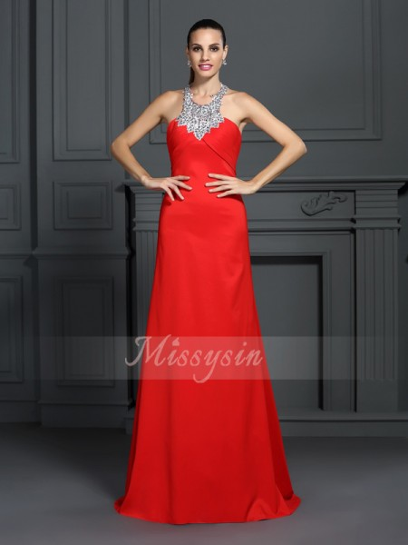 Sleeveless High Neck Elastic Woven Satin Sweep/Brush Train Red Dresses