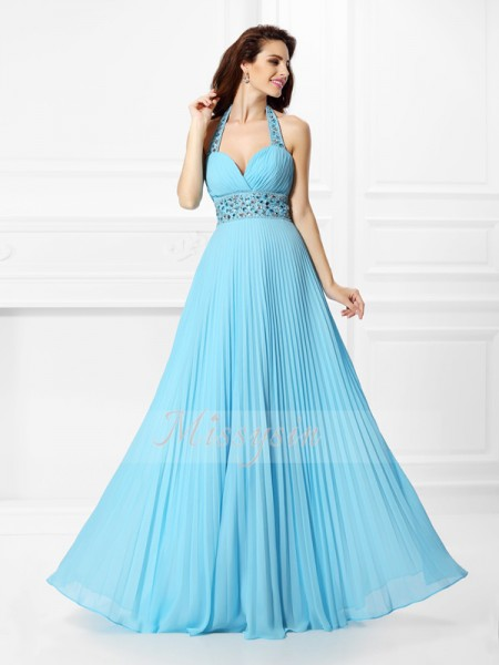 Sleeveless Halter Chiffon Long Light Sky Blue Dresses