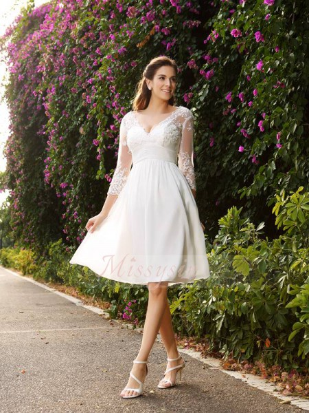 3/4 Sleeves V-neck Chiffon Knee-Length Ivory Wedding Dresses