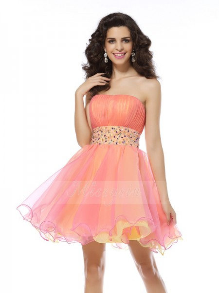 Sleeveless Strapless Organza Short/Mini Pink Cocktail Dresses