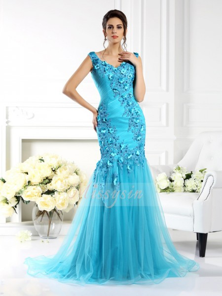 Sleeveless Straps Silk like Satin Sweep/Brush Train Blue Dresses