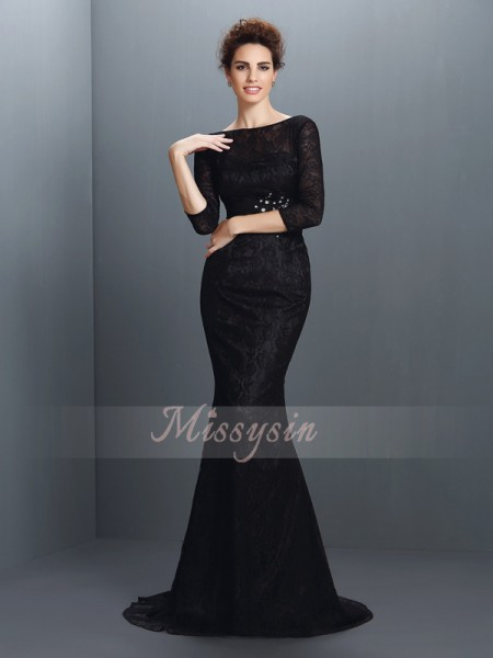 3/4 Sleeves Bateau Elastic Woven Satin Sweep/Brush Train Black Dresses