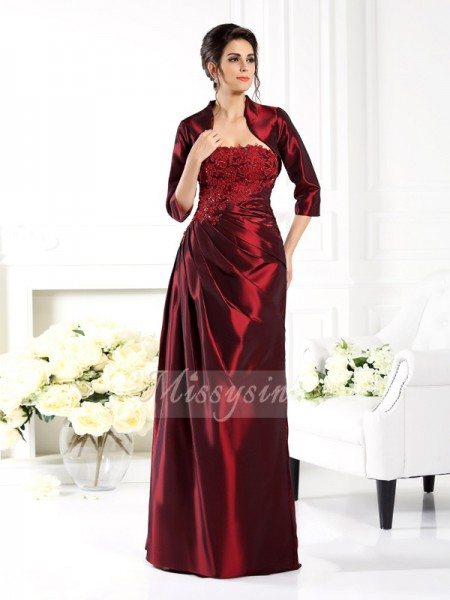 1/2 Sleeves Strapless Taffeta Long Grape Mother of the Bride Dresses