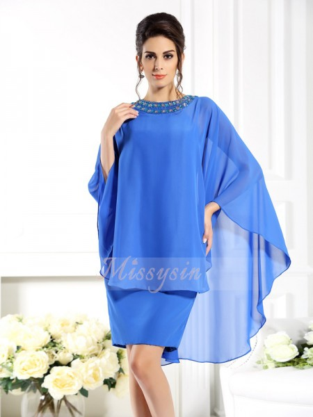 3/4 Sleeves Bateau Chiffon Knee-Length Blue Mother of the Bride Dresses