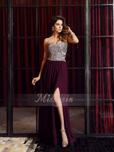 Sleeveless Sweetheart Chiffon Sweep/Brush Train Grape Dresses