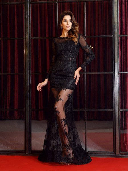 Long Sleeves Bateau Lace Sweep/Brush Train Black Dresses