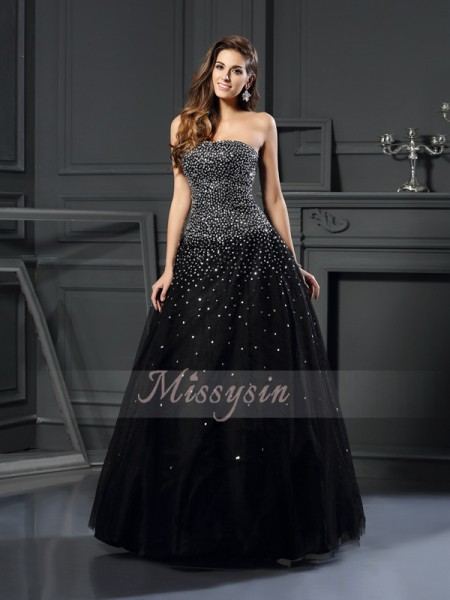 Ball Gown Sleeveless Strapless Satin Long Black Dresses