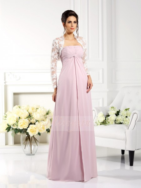 Sleeveless Strapless Chiffon Long Pink Mother of the Bride Dresses