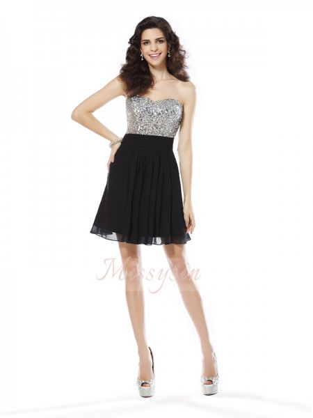 Sleeveless Sweetheart Chiffon Short/Mini Black Cocktail Dresses