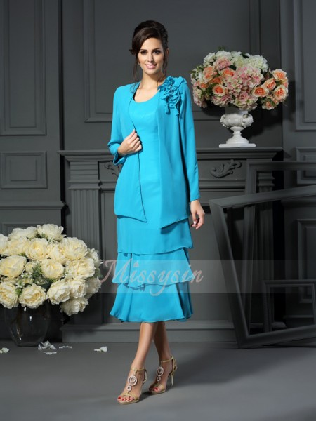 Sleeveless Scoop Chiffon Tea-Length Blue Mother of the Bride Dresses