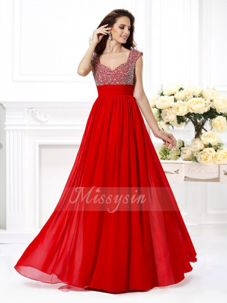 Sleeveless Straps Chiffon Long Red Dresses