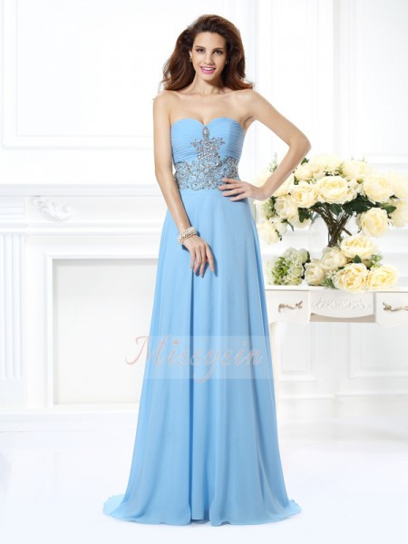 Sleeveless Sweetheart Chiffon Sweep/Brush Train Light Sky Blue Dresses