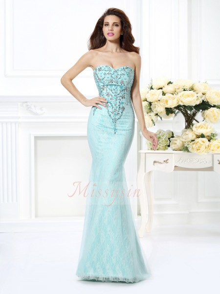 Sleeveless Sweetheart Net Long Light Sky Blue Dresses