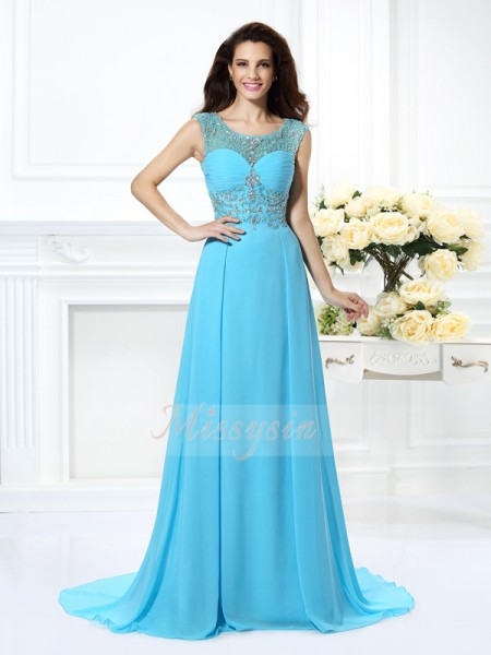 Sleeveless Scoop Chiffon Sweep/Brush Train Light Sky Blue Dresses