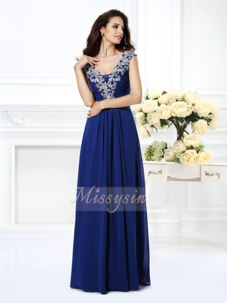 Sleeveless Scoop Chiffon Long Royal Blue Dresses