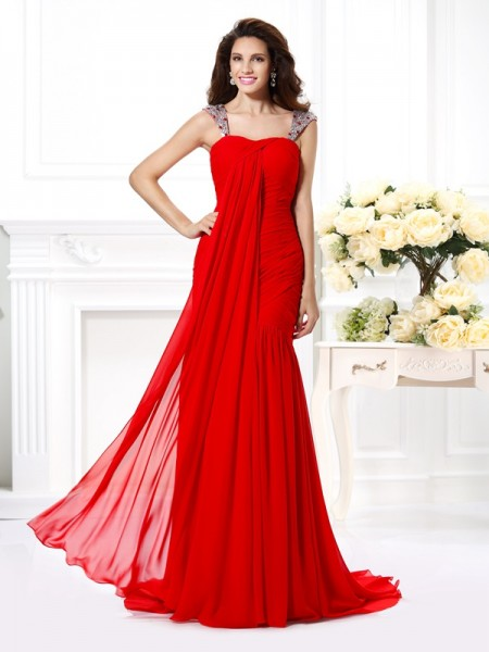 Sleeveless Straps Chiffon Sweep/Brush Train Red Dresses