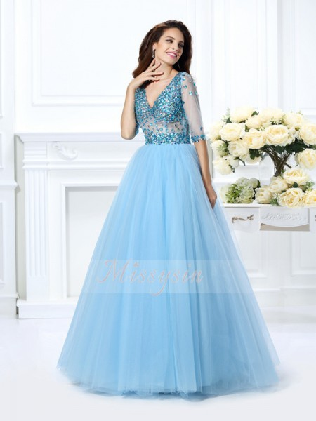 Ball Gown 1/2 Sleeves V-neck Satin Long Light Sky Blue Dresses