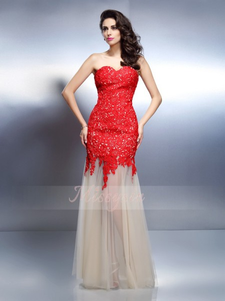 Sleeveless Sweetheart Net Long Red Dresses