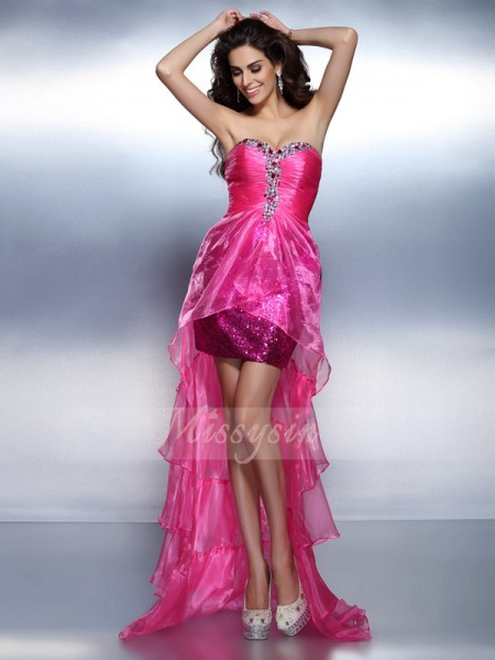 Sleeveless Sweetheart Organza Asymmetrical Fuchsia Cocktail Dresses