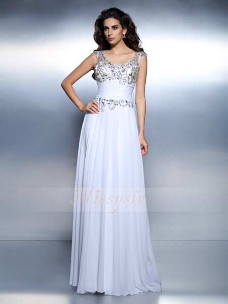 Sleeveless Scoop Chiffon Long White Dresses
