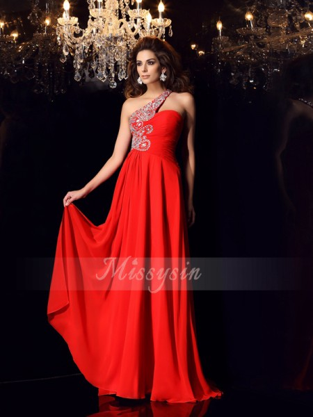 Sleeveless One-Shoulder Chiffon Sweep/Brush Train Red Dresses