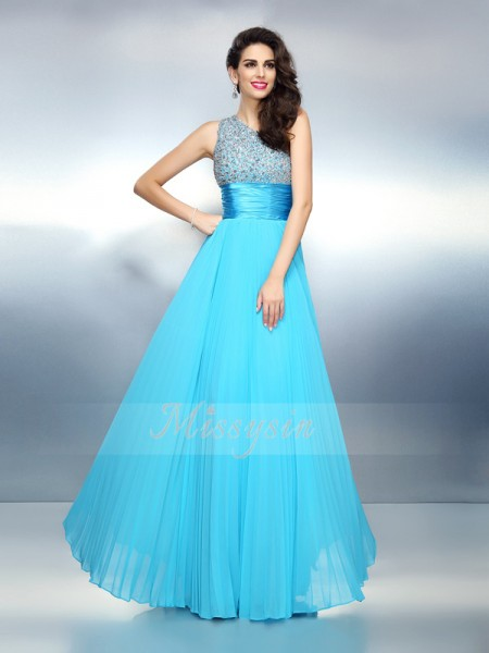 Sleeveless One-Shoulder Chiffon Long Blue Dresses