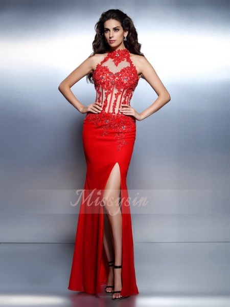Sleeveless High Neck Chiffon Long Red Dresses