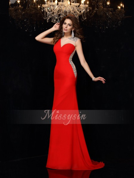 Sleeveless Scoop Chiffon Sweep/Brush Train Red Dresses