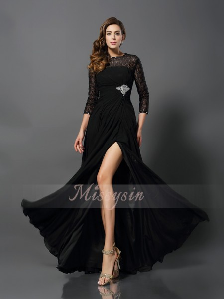 3/4 Sleeves Bateau Lace Long Black Dresses