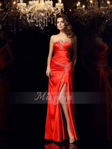 Sleeveless Sweetheart Elastic Woven Satin Long Red Dresses
