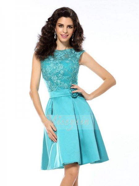 Sleeveless Scoop Satin Knee-Length Blue Cocktail Dresses