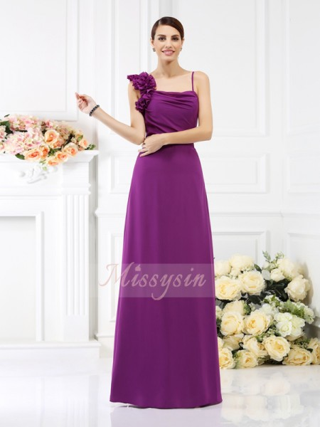 Sleeveless Spaghetti Straps Chiffon Long Fuchsia Bridesmaid Dresses