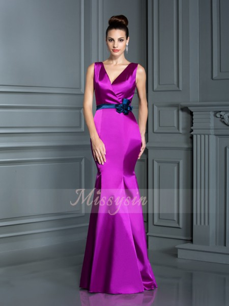 Trumpet/Mermaid,Ball Gown Sleeveless V-neck Elastic Woven Satin Long Fuchsia Bridesmaid Dresses