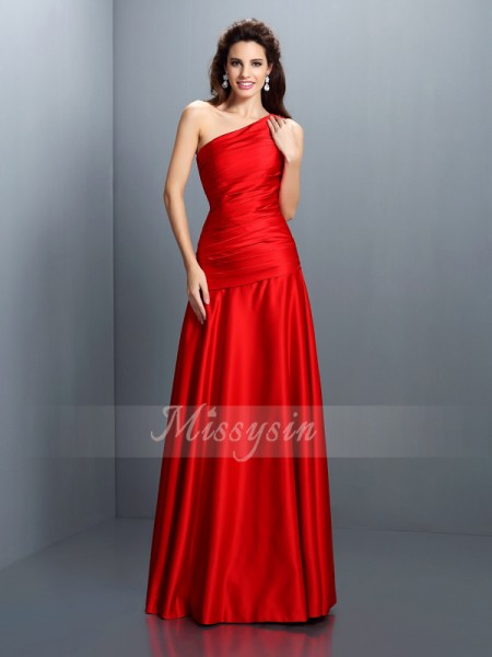 Sleeveless One-Shoulder Satin Long Red Dresses