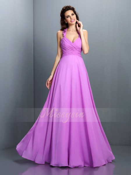Sleeveless Halter Chiffon Long Lavender Bridesmaid Dresses