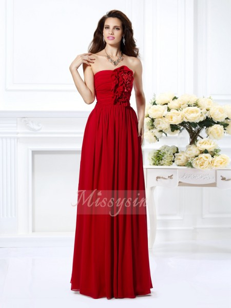 Sleeveless Strapless Chiffon Long Red Bridesmaid Dresses