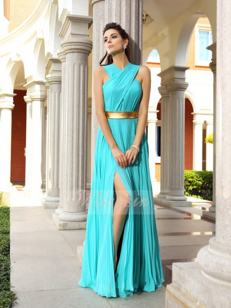 Sleeveless Other Chiffon Long Blue Dresses