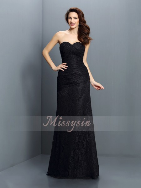 Sleeveless Sweetheart Satin Long Black Bridesmaid Dresses