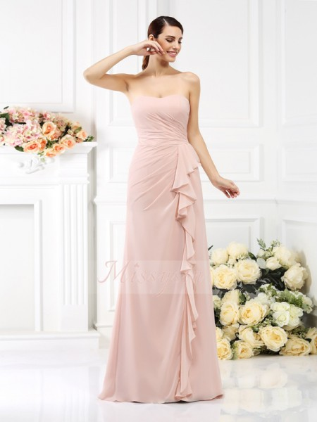 Sleeveless Strapless Chiffon Long Pearl Pink Bridesmaid Dresses