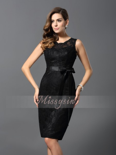Sleeveless Jewel Satin Knee-Length Black Cocktail Dresses