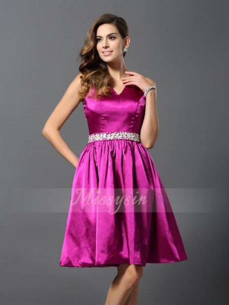 Sleeveless Straps Elastic Woven Satin Knee-Length Fuchsia Bridesmaid Dresses
