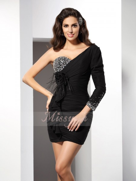 Long Sleeves One-Shoulder Chiffon Short/Mini Black Cocktail Dresses