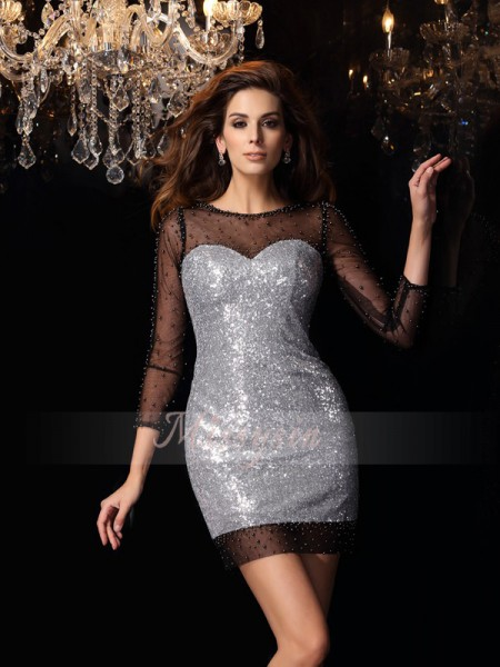 3/4 Sleeves Scoop Sequins Short/Mini Silver Cocktail Dresses
