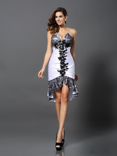 Sleeveless Sweetheart Elastic Woven Satin Asymmetrical White Cocktail Dresses